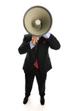 Businessman with megaphone. Isolated on a white background Royalty Free Stock Photos