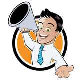 Businessman with megaphone. Cartoon illustration of happy businessman with megaphone or loud hailer on button; isolated on white background Royalty Free Stock Photography