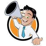 Businessman with megaphone royalty free illustration