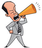 Businessman megaphone. Isolated illustration Businessman shouting in megaphone Stock Photos
