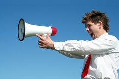 Businessman with Megaphone Stock Image