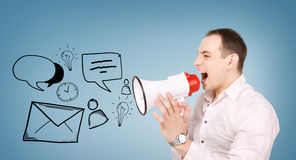 Businessman with megaphone Stock Images