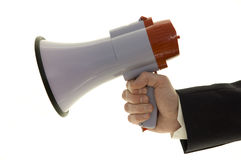 Businessman with megaphone. Isolated on white Royalty Free Stock Photo