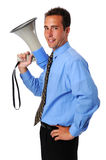 Businessman With Megaphone. Young businessman holding megaphone isolated over a white background Stock Photography
