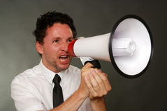 Businessman with megaphone Stock Photos
