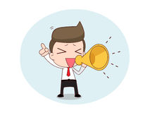 Businessman with a megaphone. Cartoon of a young businessman in shirt and tie holding a megaphone Stock Images