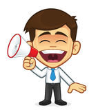 Businessman with megaphone. Clipart picture of a businessman cartoon character with megaphone Stock Photography