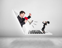 Businessman with megaphone get out of laptop Royalty Free Stock Images