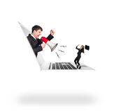 Businessman with megaphone get out of laptop Royalty Free Stock Image
