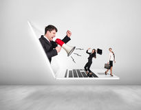 Businessman with megaphone get out of laptop Stock Images