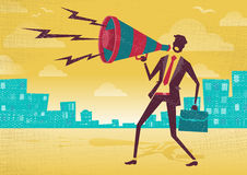 Businessman with Megaphone. Royalty Free Stock Photography