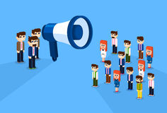 Businessman Megaphone Loudspeaker Colleagues Business People Team Leader Group Businesspeople 3d Isometric Design Stock Image