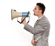 Businessman with megaphone and machete Royalty Free Stock Photography