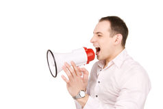 Businessman with megaphone. Picture of businessman with megaphone over white Stock Images