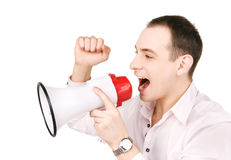 Businessman with megaphone. Picture of businessman with megaphone over white Stock Image