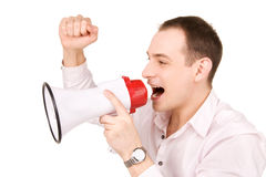 Businessman with megaphone. Picture of businessman with megaphone over white Royalty Free Stock Photography