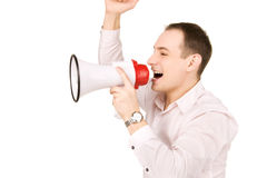 Businessman with megaphone Stock Photos