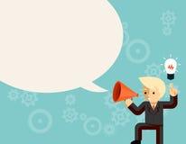 Businessman with megaphone speaking idea speech Stock Image