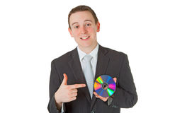 Businessman with memory disk Stock Image