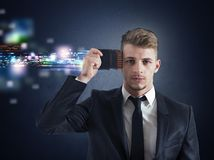 Businessman memory upgrade Stock Photos