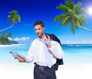 Businessman with Message Bottle Concept Royalty Free Stock Photography