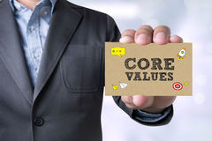 Businessman message on the card shown Core Values Concept stock photo