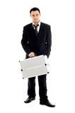 Businessman with metal container #2 royalty free stock photo