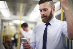 Businessman in metro Stock Photography