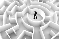 Businessman in the middle of the maze. Challenge concepts. Businessman in the middle of the maze. Concepts of finding a solution, problem solving, challenge etc Royalty Free Stock Image