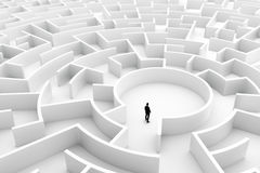Businessman in the middle of the maze. Challenge concepts. Businessman in the middle of the maze. Concepts of finding a solution, problem solving, challenge etc Royalty Free Stock Photography