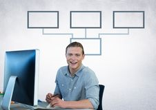 Businessman with mind map and computer Stock Photo