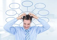 Businessman and mind map over bright background Royalty Free Stock Photos
