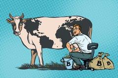 Businessman mines bitcoins milking a cow, world business Stock Photos