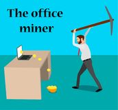 A businessman mines bitcoins using a laptop and a pickax. Bitcoins fall in the helmet Royalty Free Stock Image