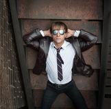 Businessman in mirrored sunglasses Stock Photo