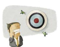 Businessman misses the target vector illustration