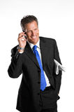 Businessman on mobile Stock Photos