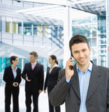 Businessman on mobile Stock Photography