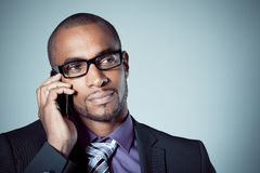 Businessman with mobile Stock Photo