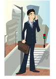 Businessman with mobile Royalty Free Stock Images