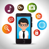 Businessman mobile application social media Royalty Free Stock Photo