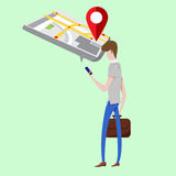 Businessman  Mobile GPS navigation. Vector illustration concept of man holding smartphone with mobile gps Royalty Free Stock Photography