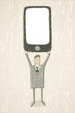 Businessman with mobile phone. Hand drawn illustration. Businessman with a modern mobile phone Stock Image