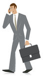 Businessman on mobile phone. Vector cartoon of young happy businessman with mobile phone and briefcase Stock Images