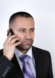 Businessman With mobile phone. Close up Stock Photo
