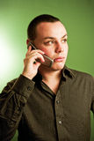 Businessman on mobile phone. Businessman talking on a mobile phone Royalty Free Stock Photos