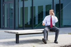 Businessman with mobile phone Royalty Free Stock Images