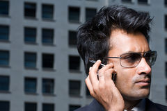 Businessman on mobile phone royalty free stock images