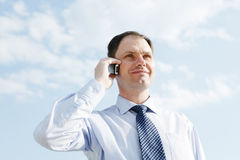 Businessman with mobile phone royalty free stock photo