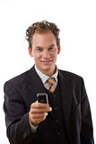 Businessman with mobile phone royalty free stock photography